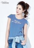 Victoria 彈性條紋LOGO印花T-女-藍白/黑白