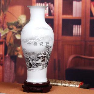 景德鎮陶瓷器薄胎瓷粉彩花瓶魚尾瓶山水圖溪山行旅雪景圖簡約現代