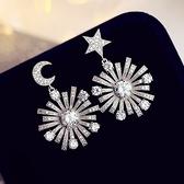 耳環 925純銀鑲鑽-星星月亮生日情人節禮物女耳飾73du43【時尚巴黎】