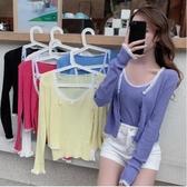 VK精品服飾 韓國風蕾絲拼接兩件套薄款針織衫長袖上衣