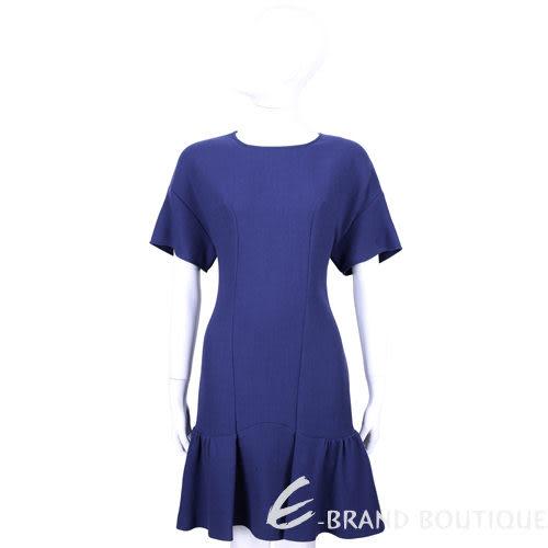 MOSCHINO 藍色下擺波紋抓摺設計短袖洋裝 1440234-23