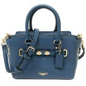 【COACH】專櫃款立體雙璇扣全皮革手提斜背兩用小方包托特包(藍)
