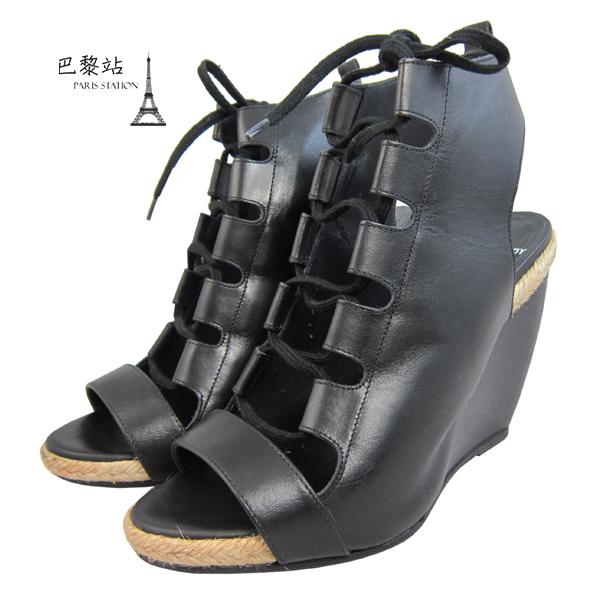 【巴黎站二手名牌專賣店】*現貨* Pierre Hardy 真品* 黑色羅馬楔形鞋(37號)