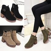 秋冬季馬丁靴女英倫風復古高跟粗跟女靴時尚學生短靴韓版磨砂女鞋