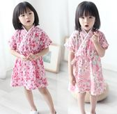 (百貨週年慶)和服女童短袖紗布睡裙夏季女寶寶小童和服睡衣棉質兒童漢服冷氣服薄款