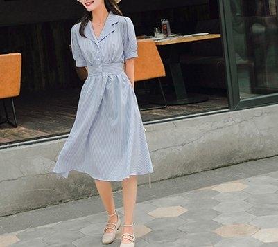 FINDSENSE H1 2018 夏季 新款冷淡風 條紋 Polo領 仙女裙中