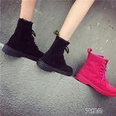 馬丁靴 馬丁靴女新款韓版復古繫帶騎士裸靴學生平底圓頭英倫風短靴子 艾維朵