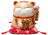 【金石工坊】奶茶波士桃花貓(高14.5CM)招財貓 開店送禮 開業禮品 陶瓷開運擺飾 撲滿存錢筒