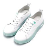 2.Maa 繽紛撞色牛皮綁帶厚底小白鞋 - 綠白