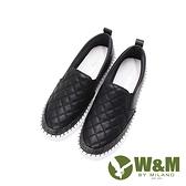 W&M(女)正韓菱格 彈力帶直套懶人鞋 女鞋-黑(另有白)