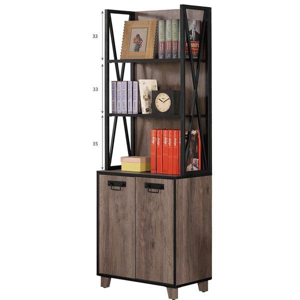 【森可家居】哈麥德2尺書櫥 8CM865-2 開放式 書架 書櫃 木紋質感 復古工業風 設計