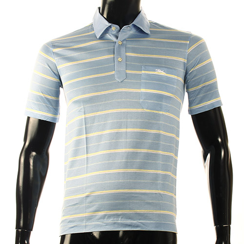 LONGCHAMP經典純棉雙條紋短袖POLO衫(灰藍/黃)179240-7