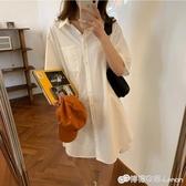 韓版新款白色襯衫裙女夏中長款小個子寬松顯瘦氣質襯衣洋裝 雙十二全館免運