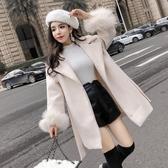 長款外套女 呢子大衣女秋裝款新品韓版翻領系帶收腰顯瘦中長款毛呢外套潮