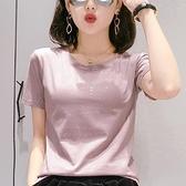 短袖T恤 純棉t恤短袖2021年新款女 夏季女裝白色亮片上衣ins潮牌春夏寬鬆 伊蘿