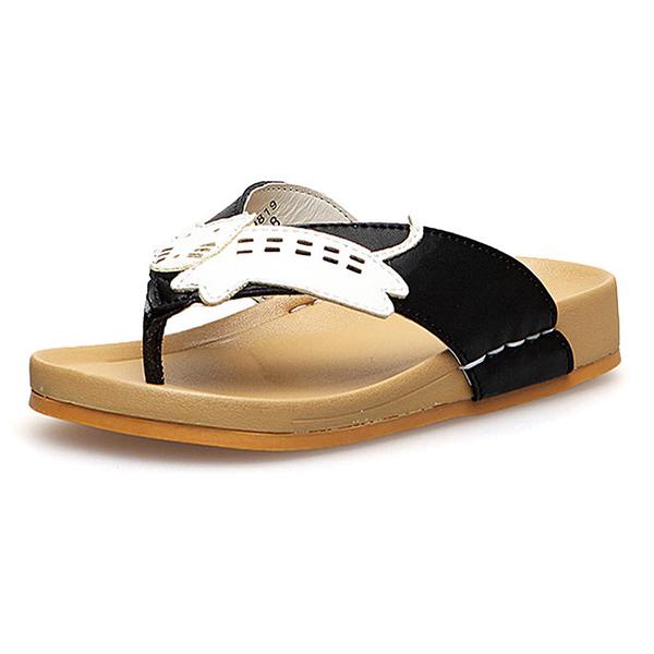 【Jingle】可愛動物全真牛皮舒適兒童夾腳涼拖鞋(黑色兒童款)