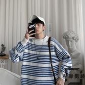 毛衣男士韓版潮流寬松慵懶風條紋半高領針織衫【左岸男裝】
