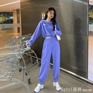 套裝 2020秋季新款女休閒時尚套裝韓版大碼短款洋氣衛衣闊腿褲兩件套潮 618購物節