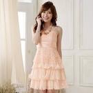 夏 蛋糕 洋裝[9909-JK]甜美蕾絲蝴蝶結綁帶雪紡蛋糕公主裙~謝師宴小禮服~美之札