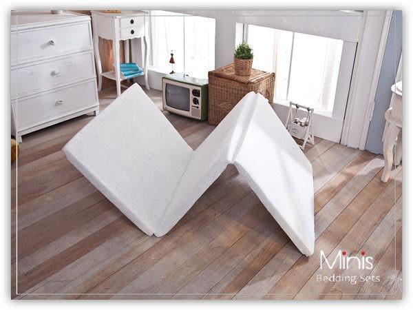 MiNiS 三折白棉床墊心 單人4尺床墊 高密度直立棉 1200g/y2 台灣製