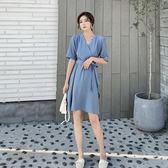 洋裝 韓系復古法式V領高腰顯瘦收腰不規則短袖連身裙 花漾小姐【預購】