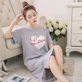 韓版睡裙女夏清新學生夏天棉質夏季短袖寬鬆孕婦長款睡衣可外穿   草莓妞妞