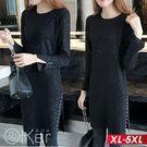 時尚亮點長袖圓領連衣裙 XL-5XL O-ker歐珂兒 171602
