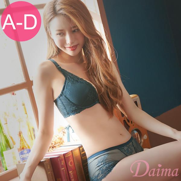永恆魅力(A-D)裸肌鏤空蕾絲W型鋼圈成套內衣_綠【Daima黛瑪】K006
