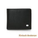 金安德森 CLASSIC SET 細緻壓紋左上翻短夾 黑色