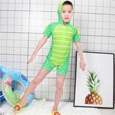 店長推薦 兒童泳衣男童恐龍連身泳褲平角中小童寶寶男孩沙灘游泳衣套裝速干