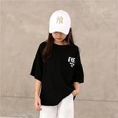 夏季女童黑色短袖字母印花T恤中大童兒童五分袖上衣嘻哈風親子裝 幸福第一站