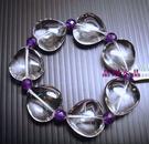 天然白水晶&紫水晶手鍊*心心相印* 超大22mm心型-超炫!!送禮物佳~附禮盒*免運費