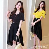 洋裝 喇叭袖雪紡洋裝 不規則沙灘中長連身裙時尚假兩件套新款短裙 HT13790