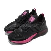 adidas 休閒鞋 ZX 2K BOOST W 黑 桃紅 反光 網布 襪套 女鞋 【PUMP306】 FV8986
