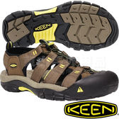 KEEN 1016285咖啡/黃 NewPort H2 男戶外護趾涼鞋 水陸兩用溯溪鞋/運動健走鞋/沙灘戲水拖鞋