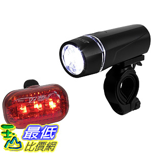[106美國直購] 自行車尾燈 BV Bicycle Light Set Super Bright 5 LED Headlight 3 LED Taillight Quick-Release