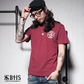 【BTIS】蜜蜂背圖 圓領T-shirt / 酒紅色