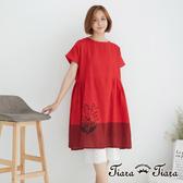 【Tiara Tiara】 花葉圖騰純棉傘下擺短袖洋裝(紅)