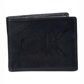 CK經典CK大標誌雙折黑色皮夾
