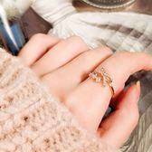 戒指 現貨 韓國氣質甜美百搭微鑲法式蝴蝶結花朵鋯石開口戒指 S5225 批發價 Danica 韓系飾品