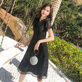 洋裝 長裙 連身裙 chic溫柔仙女裙黑色重工蕾絲鏤空刺繡連衣裙2019夏天韓版森系裙子