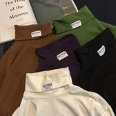 韓國ulzzang長袖t恤高領純棉原宿純色打底衫INS超火的大學T男女潮