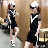 跑步休閒運動服套裝女2018夏季新款女裝韓版時髦短袖短褲兩件套潮-Ifashion