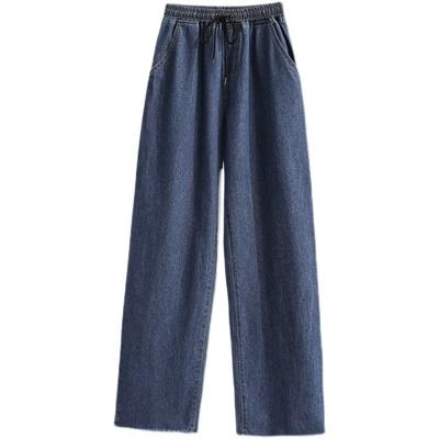 寬褲~M-5XL大碼長褲~松緊腰胖mm長褲顯水洗直筒季女士闊腿褲牛仔褲瘦寬松抽繩MC077衣時尚