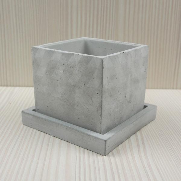 (BEAGLE) 三角漸層幾何型創意水泥盆栽+托盤/多肉水泥花器/仙人掌水泥花盆/水泥植栽/水泥盆器