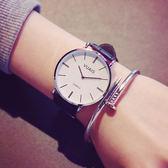 休閒簡約大盤女表正韓學生男表潮流時尚皮革皮帶超薄復古手錶