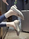 英倫小皮鞋女2019新款秋季百搭學生復古一腳蹬低跟方頭粗跟單鞋潮 韓語空間