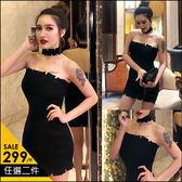 克妹Ke-Mei【AT45343】辛辣尤物 歐美暗黑龐克破損平口洋裝附脖套
