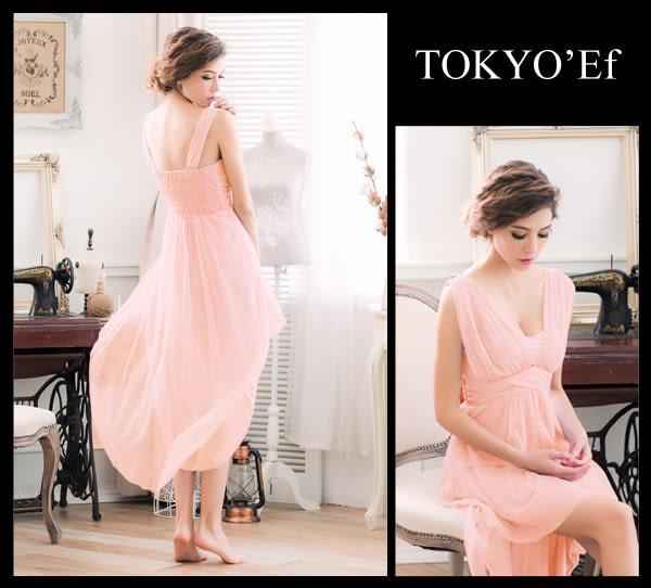 東京衣服 蜜糖女伶 輕甜馬卡龍色系 深V抓紗高腰設計前短後長小禮服 粉橘