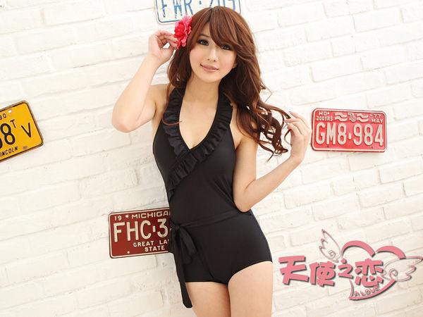 天使之戀-睡衣館BB12032黑 黑色大花領 一件式連身泳裝  買泳衣送泳帽+胸墊